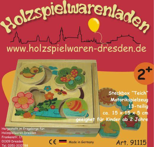 """Holzspielwaren-Dresden 91115 Steckbox """"Teich"""" 13-teilig Motorik Erzgebirge"""