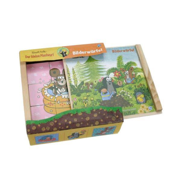 """Edition Trötsch 39225 Bilderwürfel """"Der kleine Maulwurf"""" 9 Würfel Puzzle Holzbox"""