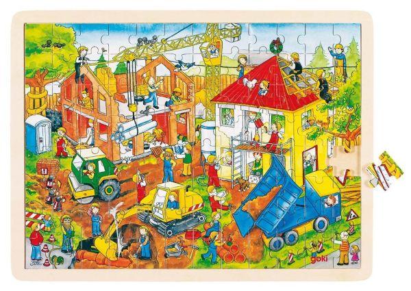 """goki 57670 Einlegepuzzle """"Baustelle"""" Puzzle aus Holz 96 Teile Holzpuzzle"""