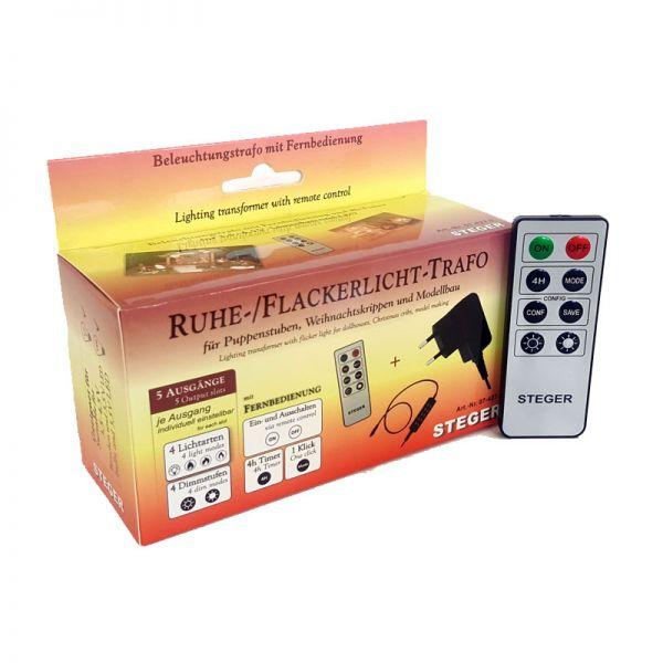 Steger 60977 Trafo mit Fernbedienung für Puppenhaus-Beleuchtung 3,5V 12 Watt - bis zu 20 Birnen