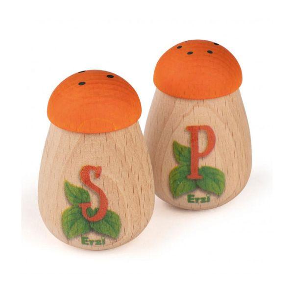Erzi 10653 Salz & Pfeffer Streuer Set Holz für Kaufladen und Kinderküche