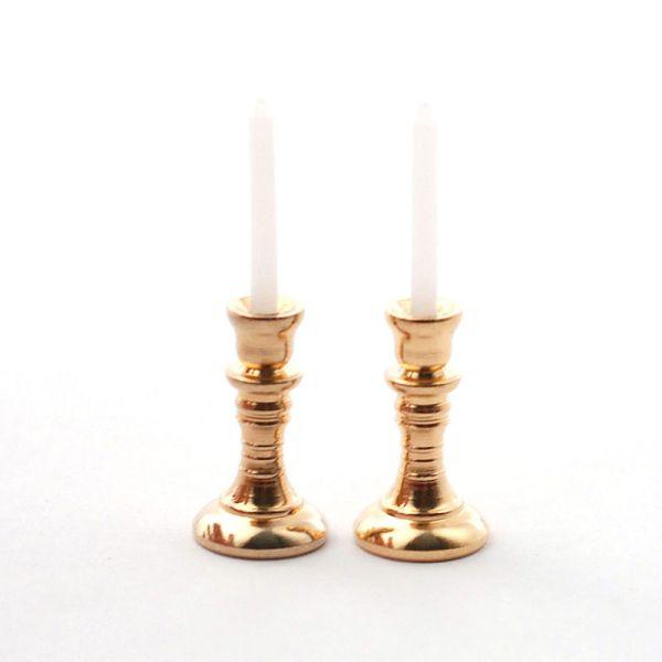 Dolls House 4237 Kerzenständer (2 Stück) mit Kerze 1:12 für Puppenhaus