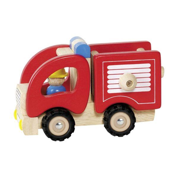 """goki 55927 Holzauto """"Feuerwehr"""" rot mit Figur Feuerwehrauto"""