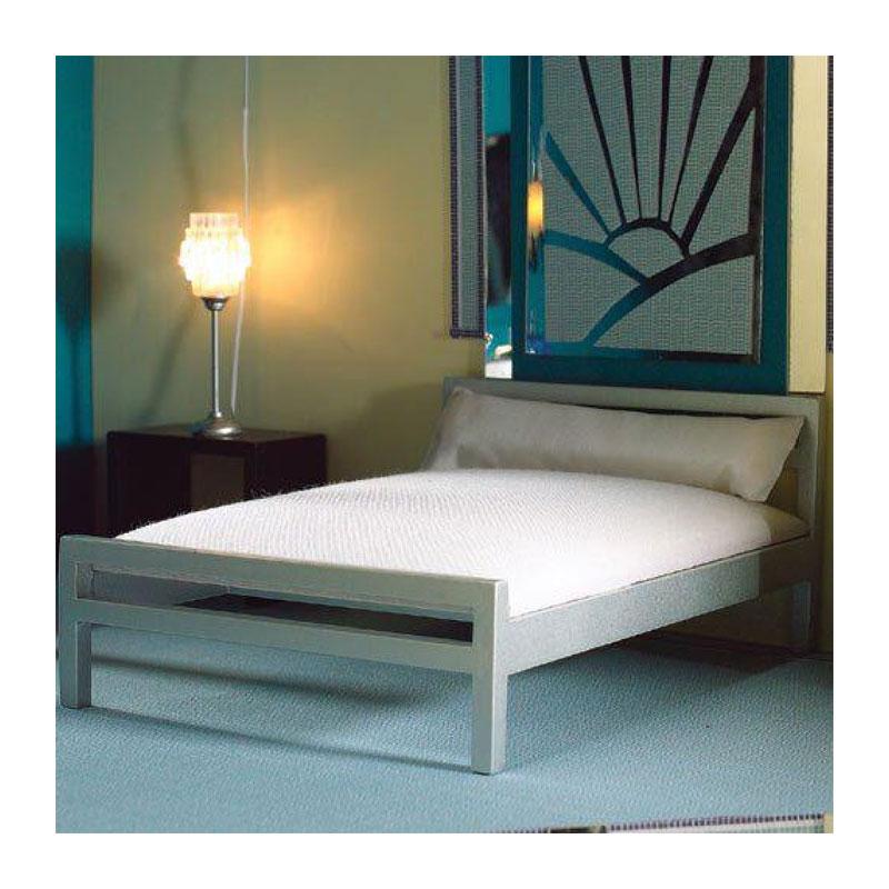 dolls house 4937 modernes doppelbett silber 1 12 f r puppenhaus schlafzimmer m bel. Black Bedroom Furniture Sets. Home Design Ideas
