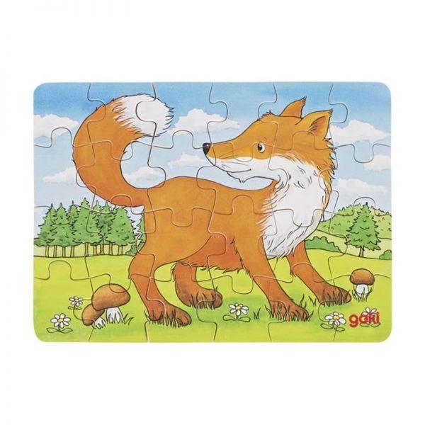 """goki 57709 Mini Puzzle """"Waldtiere - Motiv: Fuchs"""" Holzpuzzle"""