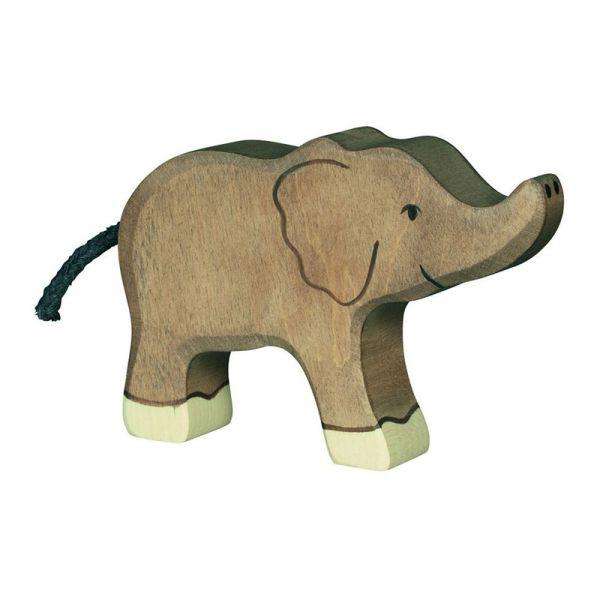 Holztiger 80537 Elefant klein, Rüssel hoch Holzfigur Holztier