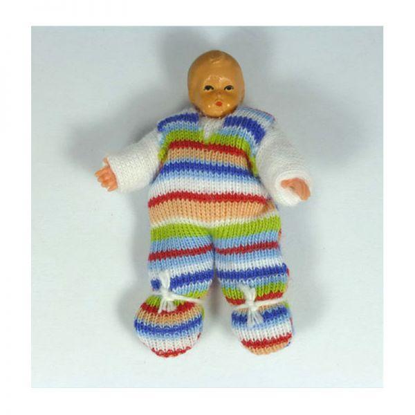 """Caco 08023000 Puppe """"Baby"""" 4,5 cm Strampelanzug Biegepuppe 1:12 Puppenhaus"""