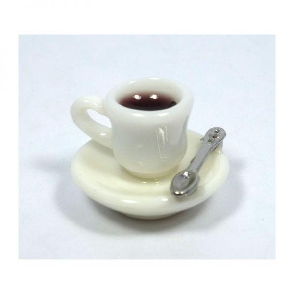 Creal 72510 Kaffeetasse mit Untertasse und Löffel 1:12 für Puppenhaus