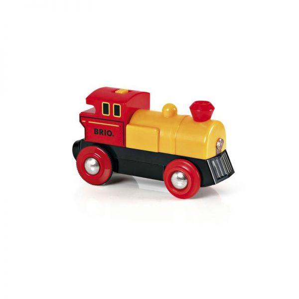Brio 33594 gelb-rote Batterielok für Holzschienenbahn