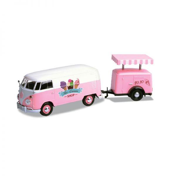 Motormax 79672 VW T1 Kastenwagen mit Kühlanhänger rosa/weiss Maßstab 1:24