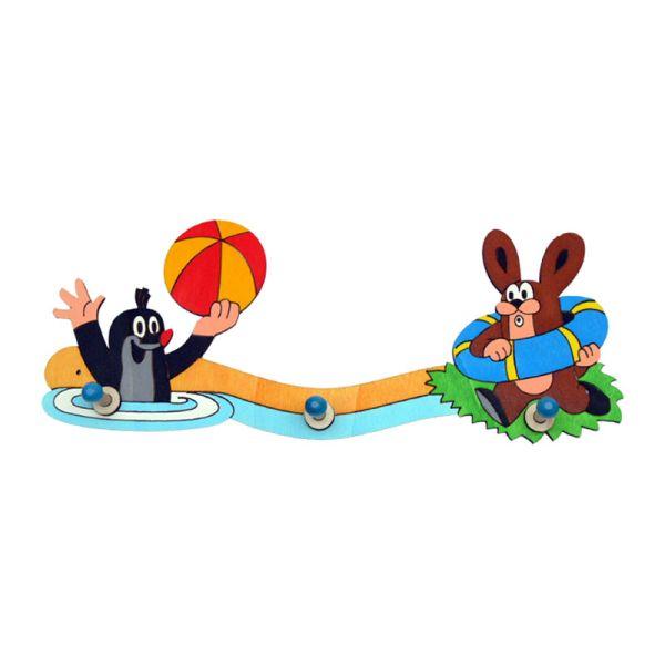 """ABA 61061 Kinder-Garderobe """"Der kleine Maulwurf mit Hase im Wasser"""" Holz 39 cm"""