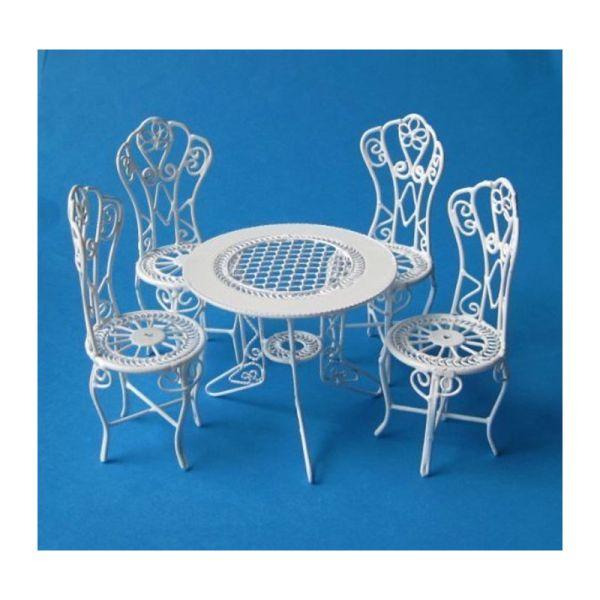 Creal 330071 Gartenmobel Set Weiss Tisch 4 Stuhle Metall 1 12