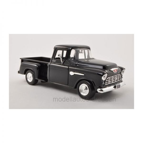 Motormax 73236 Chevrolet 5100 Stepside Pick Up schwarz BJ 1955 Maßstab 1:24