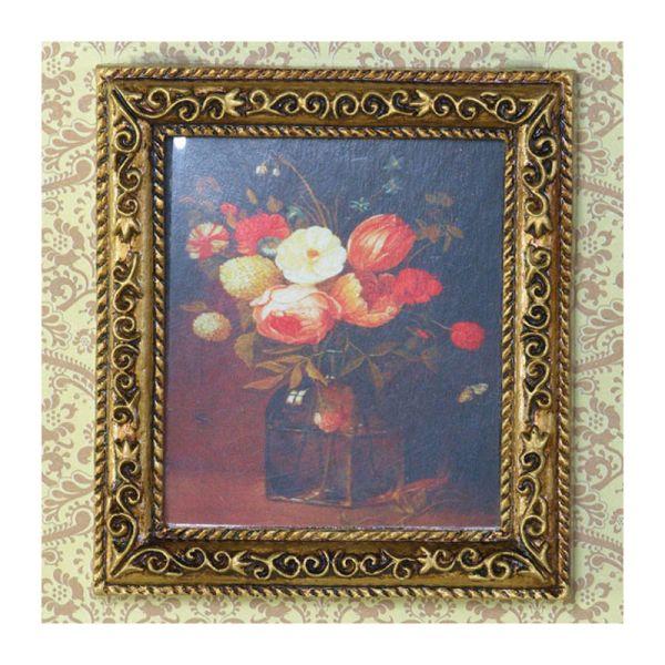 """Dolls House 3062 Bild """"Blumenstrauss"""" Rahmen: gold 1:12 für Puppenhaus"""