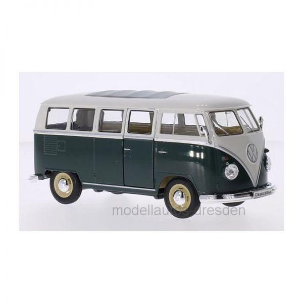 Welly 22095 VW T1 Bus 1963 dunkelgrün/weiss Maßstab 1:24 Modellauto