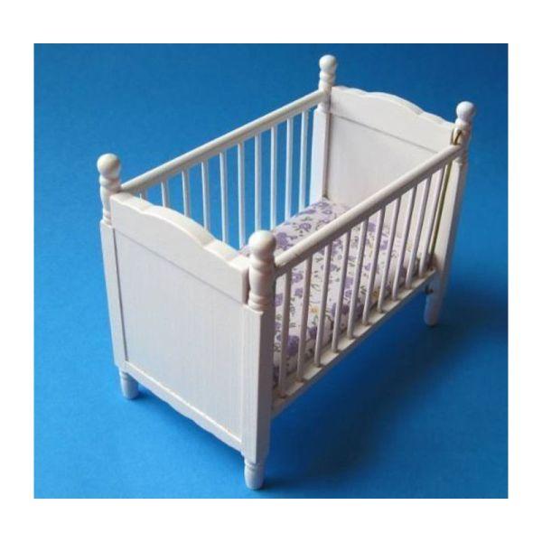 creal 27171 miniatur kinderbett babybett wei holz 1 12 f r puppenhaus kinderzimmer m bel. Black Bedroom Furniture Sets. Home Design Ideas