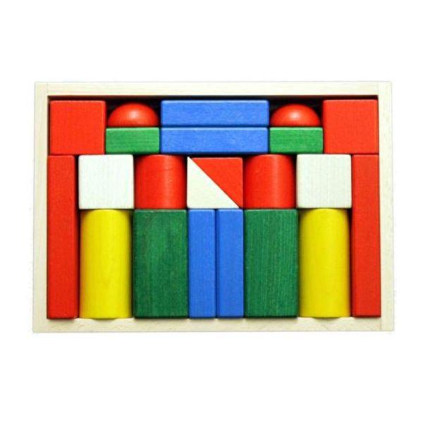 Ebert 206019 Baukasten 22 große Blöcke 26,5x18,5 bunt in Holzkasten