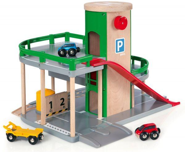 Brio 33204 Parkhaus Straßen und Schienen für Holzeisenbahn