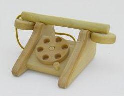 Estia 600011 Telefon mit Wählscheibe aus Holz, natur