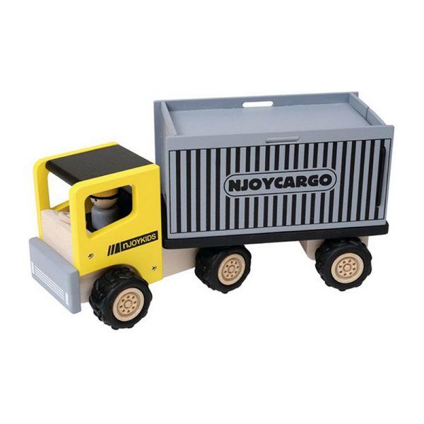 NJoyKids 14108 LKW mit Container gelb Holz