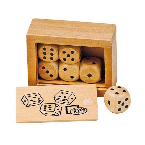 goki HS239 Würfelkasten mit 6 Würfeln, 6 x 4,5 x 2,5 cm
