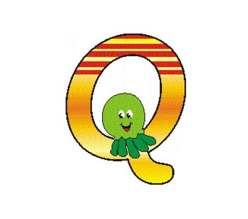 "Hess 044 Buchstabe ""Q"" aus Holz bunt bedruckt"