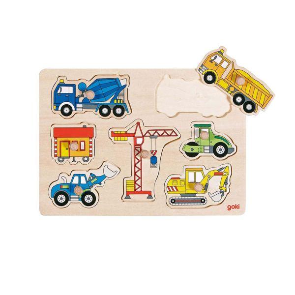 """goki 57593 Steckpuzzle """"Baufahrzeuge"""" Setzpuzzle Puzzle Holz"""