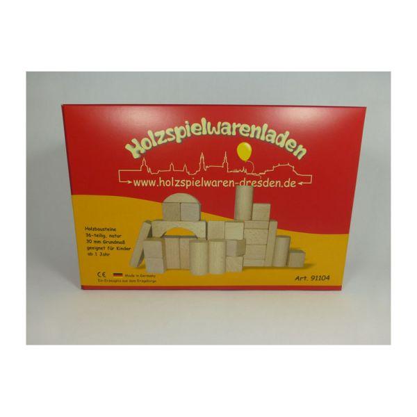 Holzspielwaren-Dresden 91104 Holzbausteine natur 36 Stk. Erzgebirge