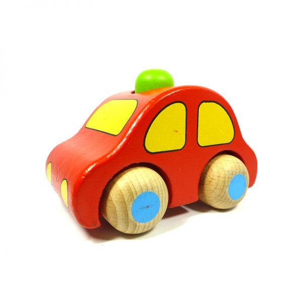 goki 55011 Holzauto rot mit Hupe zum Rollen ab 6 Monate