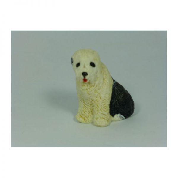 """KIM 39028 Hund """"Bobtail"""" sitzend schwarz/weiß für Puppenhaus"""