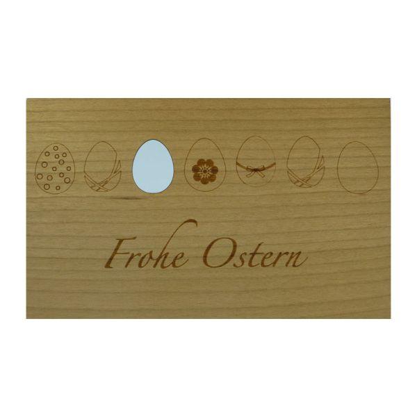 """Holzpost G160 Holz-Grußkarte """"Frohe Ostern"""" Motiv: Ostereier mit C6 Umschlag"""