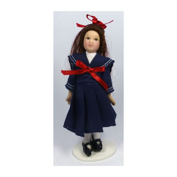 1//12Puppenhaus Miniatur Viktorianische Mädchen Porzellan Puppe mitAbendkleid