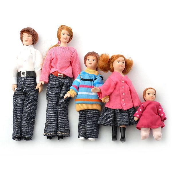 """Dolls House 6537 """"Familie"""" 5 Puppen 1:12 für Puppenhaus"""