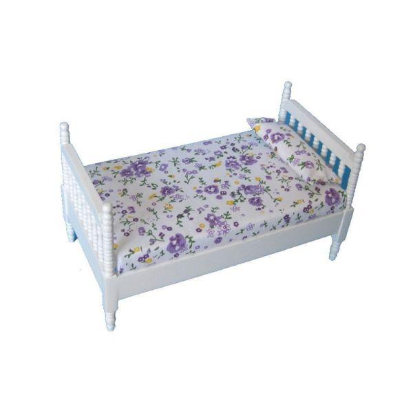 """Creal 27481 Einzelbett """"Single Bed"""" weiß Holz 1:12 für Puppenhaus"""