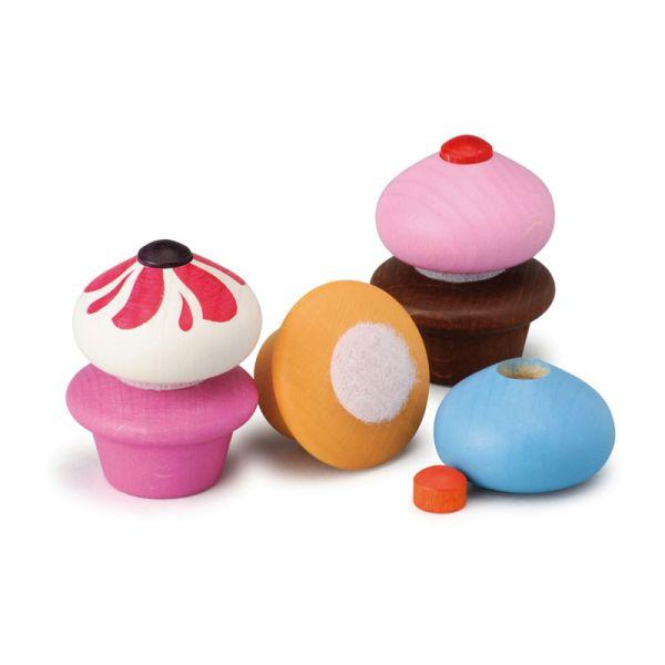 Erzi 13225 Cupcakes (3 Stück) Holz für Kaufladen