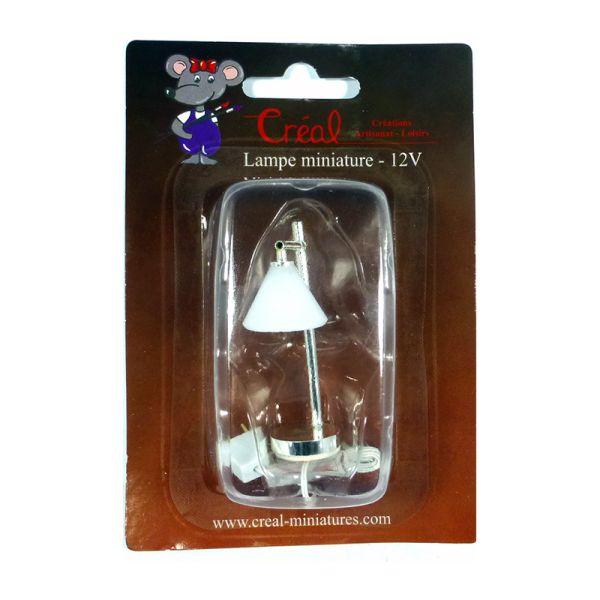 Creal 2415 Silberlampe mit weissem Pyramidenschirm 1:12 für Puppenhaus