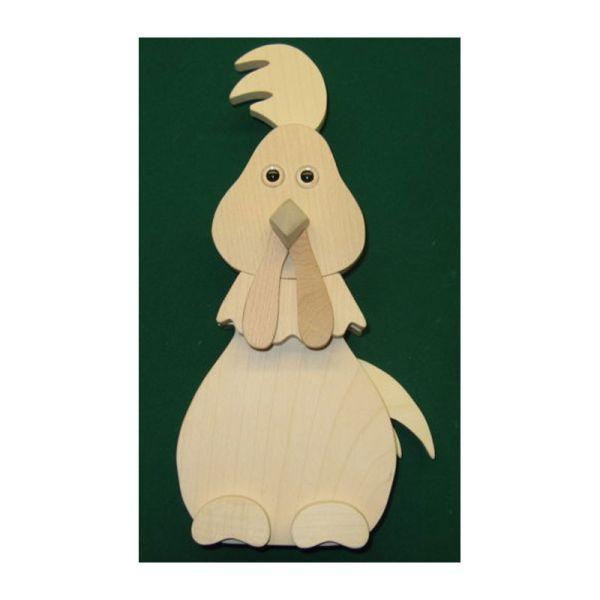 """Finkbeiner 2016 Oster-Figur """"Hahn sitzend"""" Holz 10x22 cm"""