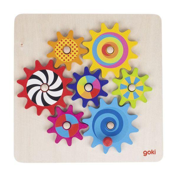 goki 58530 Zahnradspiel aus Holz, Motorikspielzeug, 8-teilig
