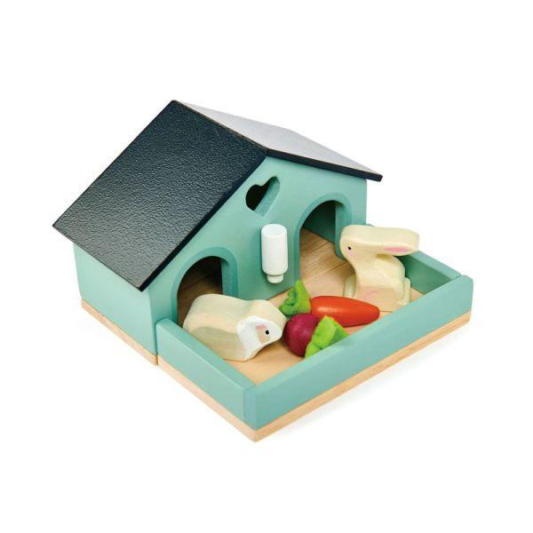 Tender TL8163 Kanninchen-Merrschweinchen-Set aus Holz für Puppenhaus