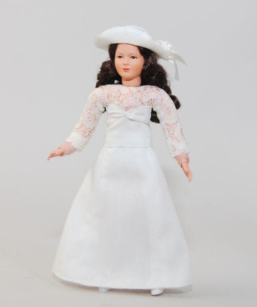 """Caco 11140300 Puppe """"Braut"""" weißes Kleid Biegepuppe 1:12 für Puppenhaus"""