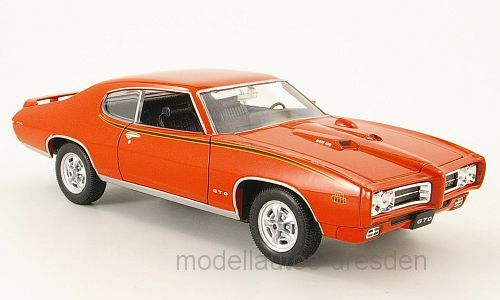 Welly 22501 Pontiac GTO 1969 rot Maßstab 1:24 Modellauto