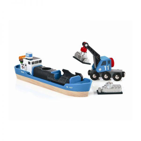 Brio 33534 Containerschiff mit Kranwagen für Holzeisenbahn