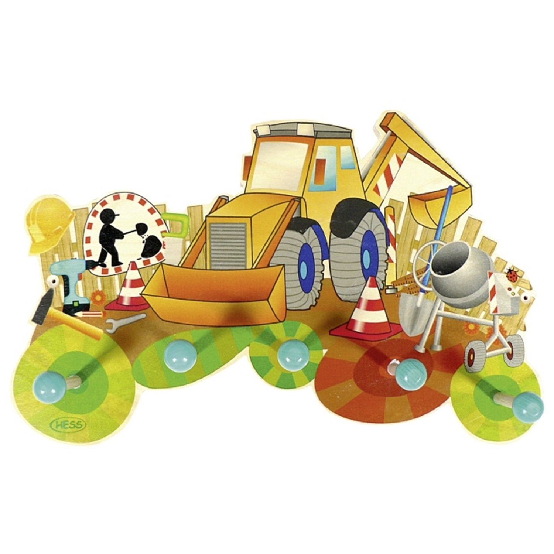 Lauflernwagen Holz Erzgebirge ~ Hess 30301 Kinder Garderobe  Baustelle  5 Haken 36 cm Holz Erzgebir