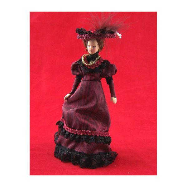 Creal 269452 bordeauxfarbene Puppe aus Porzellan 1:12 für Puppenhaus