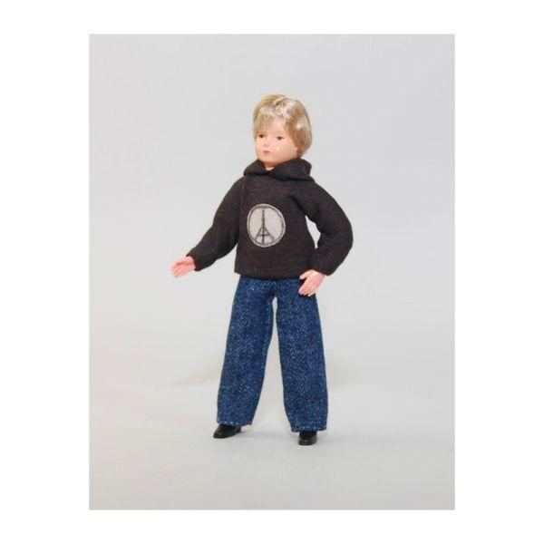 "Caco 11152400 Puppe ""Junge"" 11,5 cm Jeans, Kapuzenpulli Biegepuppe 1:12 Puppenhaus"