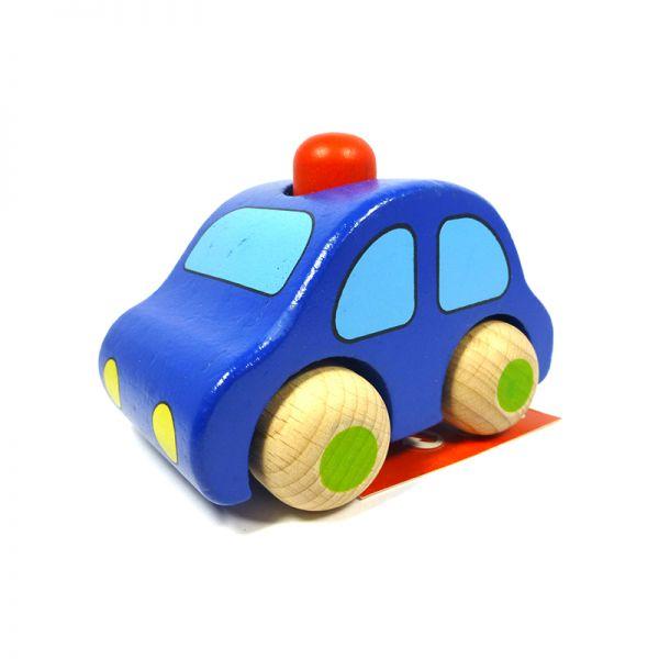 goki 55011 Holzauto dunkelblau mit Hupe zum Rollen ab 6 Monate