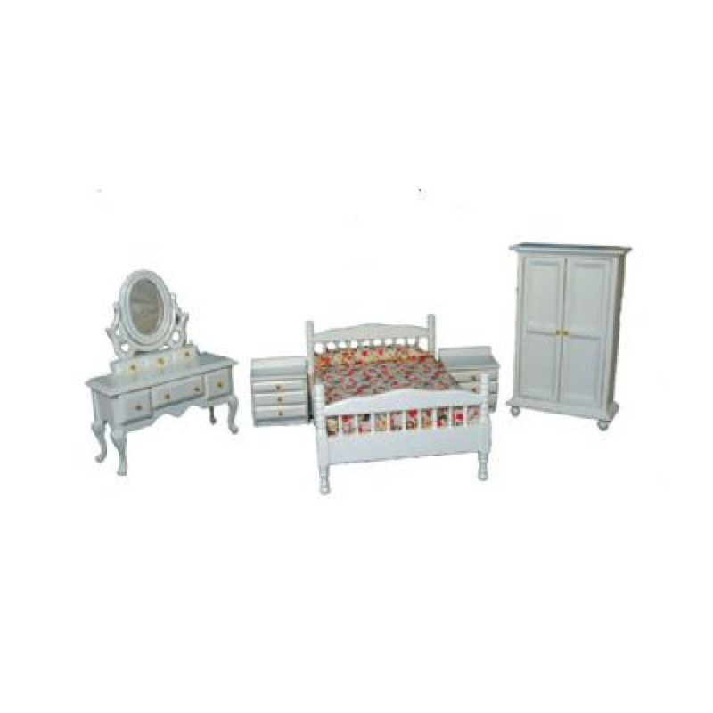 sa dollshouse df1171 schlafzimmer wei 5 teilig 1 12 f r puppenhaus schlafzimmer m bel. Black Bedroom Furniture Sets. Home Design Ideas