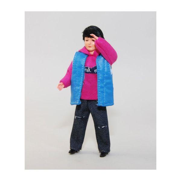 "Caco 5018900 Puppe ""Frau"" 13 cm Jeans, pinker Pulli Biegepuppe 1:12 Puppenhaus"