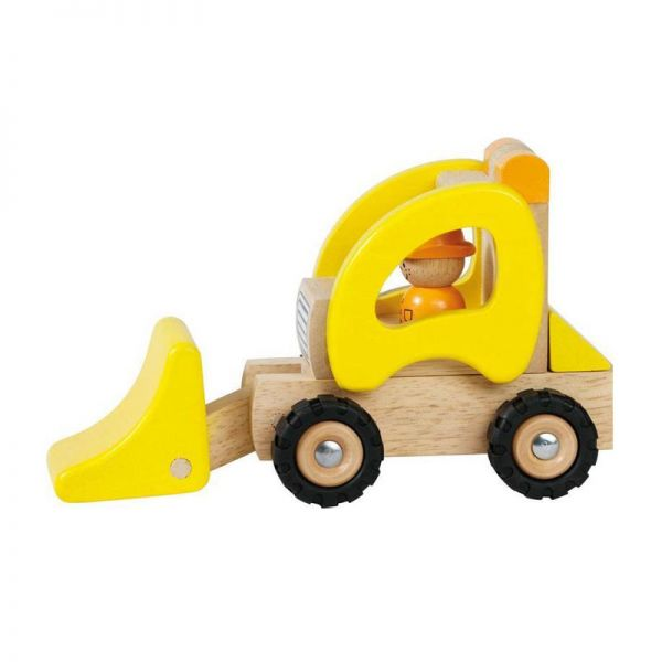 goki 55966 Mini Radlader gelb 20x8,5x10 cm ab 2 Jahre Holz