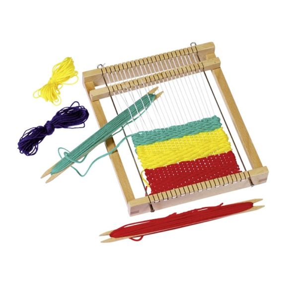 goki 58988 Webrahmen 6-tlg. mit Wolle in 4 Farben